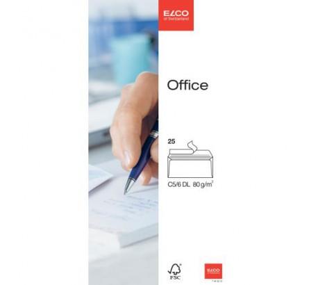 ELCO Office enveloppes blanches sans fenêtre C5/6 FSC 80gr. -25 pces-