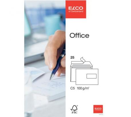 ELCO Office enveloppes blanches fenêtre à droite C5 FSC 100gr. -25 pces-
