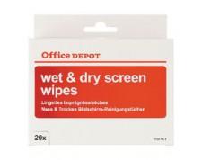 Lingettes de nettoyage pour écrans Wet & Dry 20 Unités